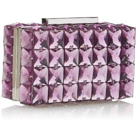 BCBGMaxAzria Handbags - BCBG Lulu Square Box Crystal Stone Clutch Purse